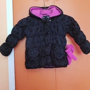 Rothschild Girls Black Coat with Pink accent